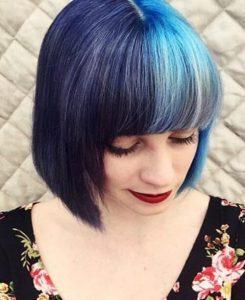 capelli bicolore blu