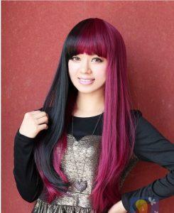 capelli bicolore nero fucsia